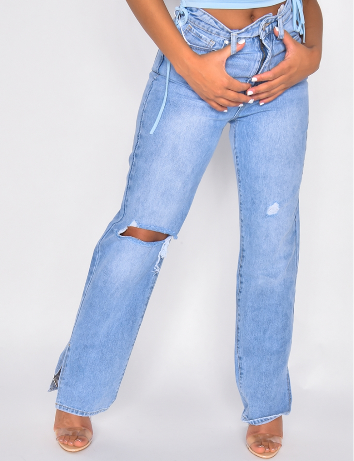 Jeans long à fente destroy
