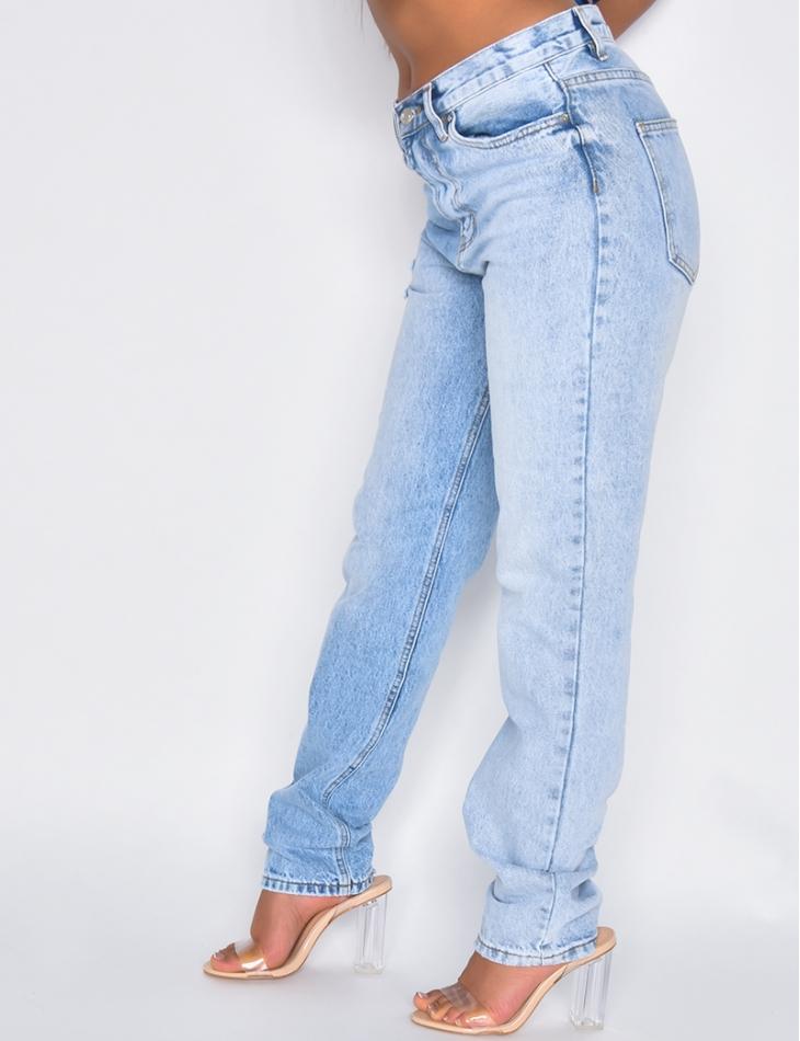 Jeans bi-color taille haute