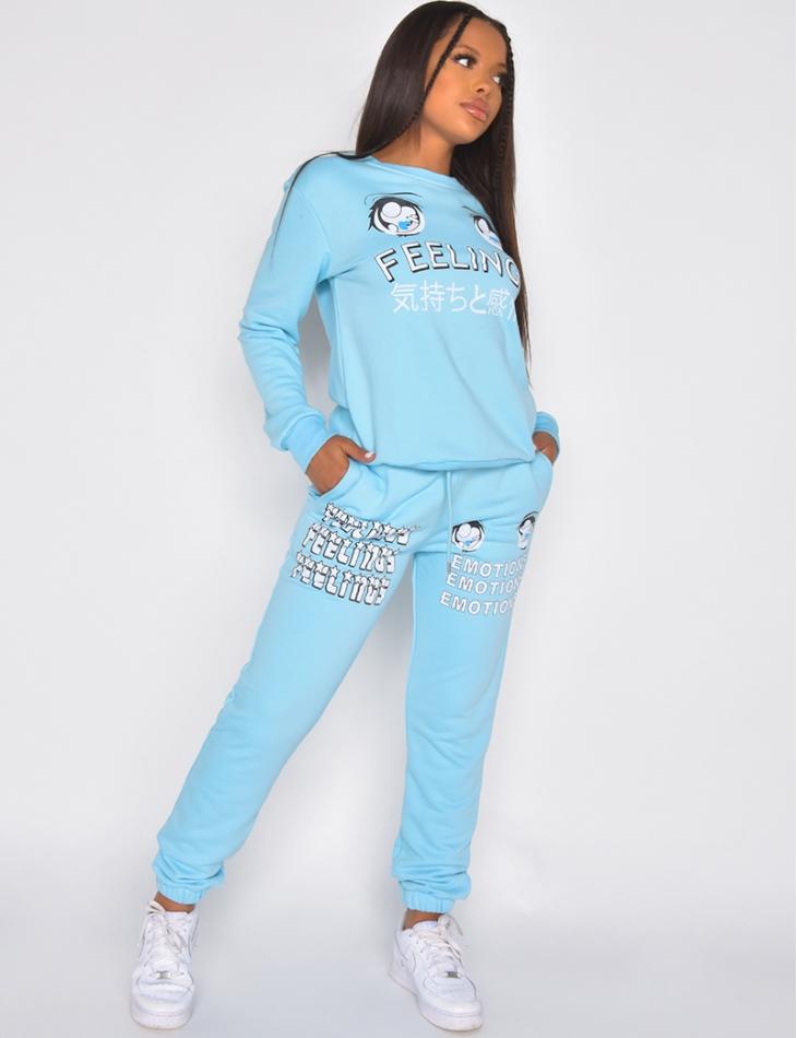 """FEELINGS"" sweatshirt and jogging bottoms with eye pattern"