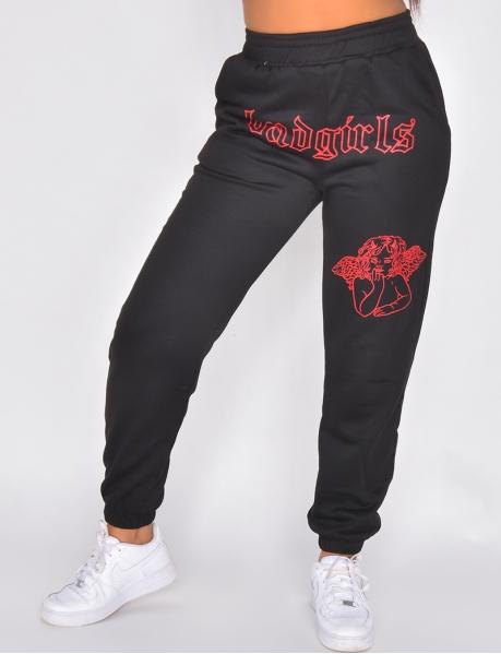 """Badgirls"" trousers with half-angel, half-demon motif"