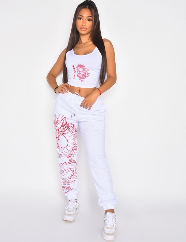 "Crop top ""Jeans Industry"" motif dragon"