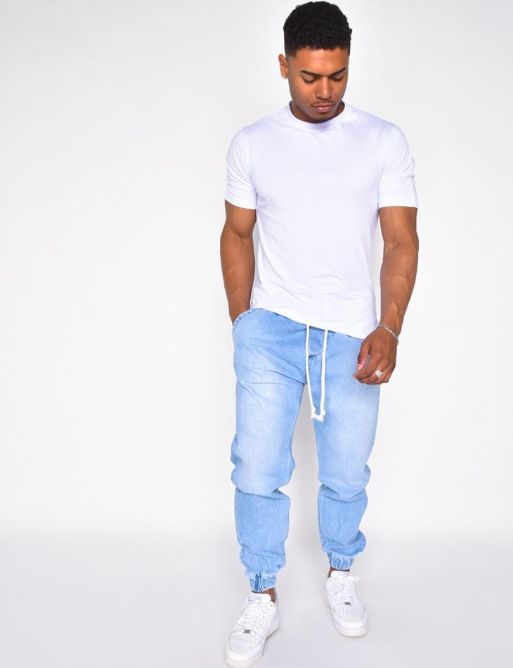 Jeans cargo à ceinture élastique