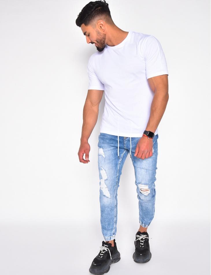 Jeans cargo destroy à ceinture élastique