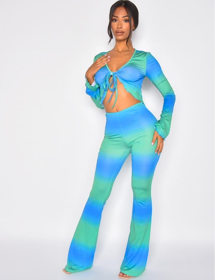 Ensemble pantalon fluide et top à nouer bi-color
