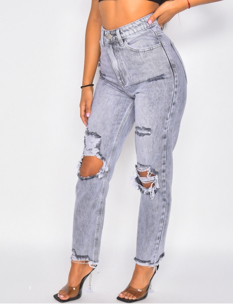Jeans mit hoher Taille in Destroyed-Optik