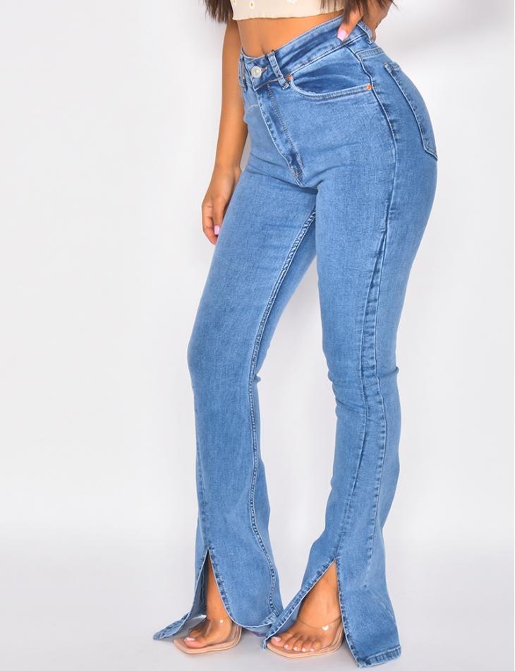 Jeans pattes d'eph à fentes