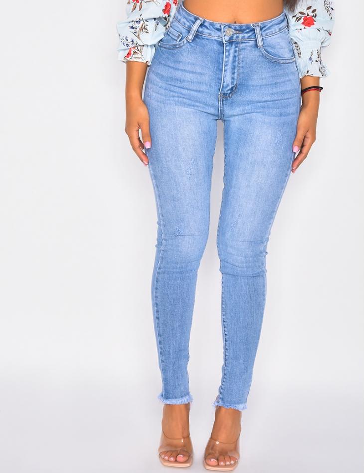 Jeans slim effiloché