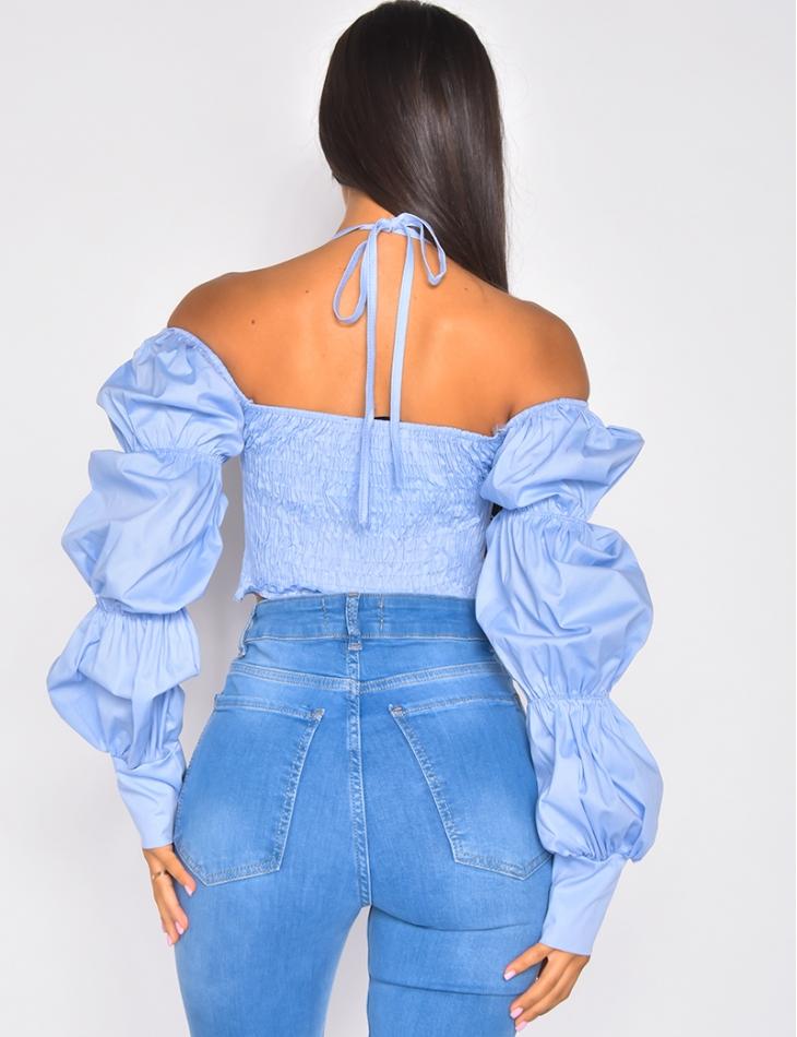 Crop top effet corset manches longues