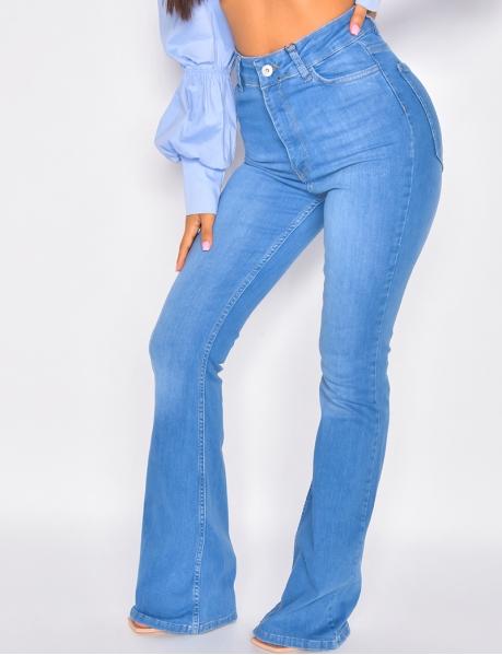 Jeans pattes d'eph taille haute