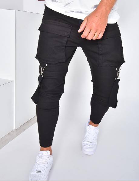 Pantalon cargo à poches et lanières