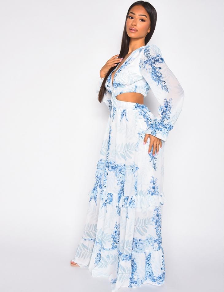 Robe longue fleurie dos nu et grand décolleté