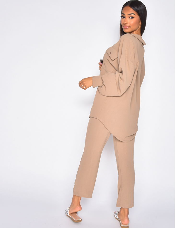 Ensemble pantalon et chemise oversize à boutons