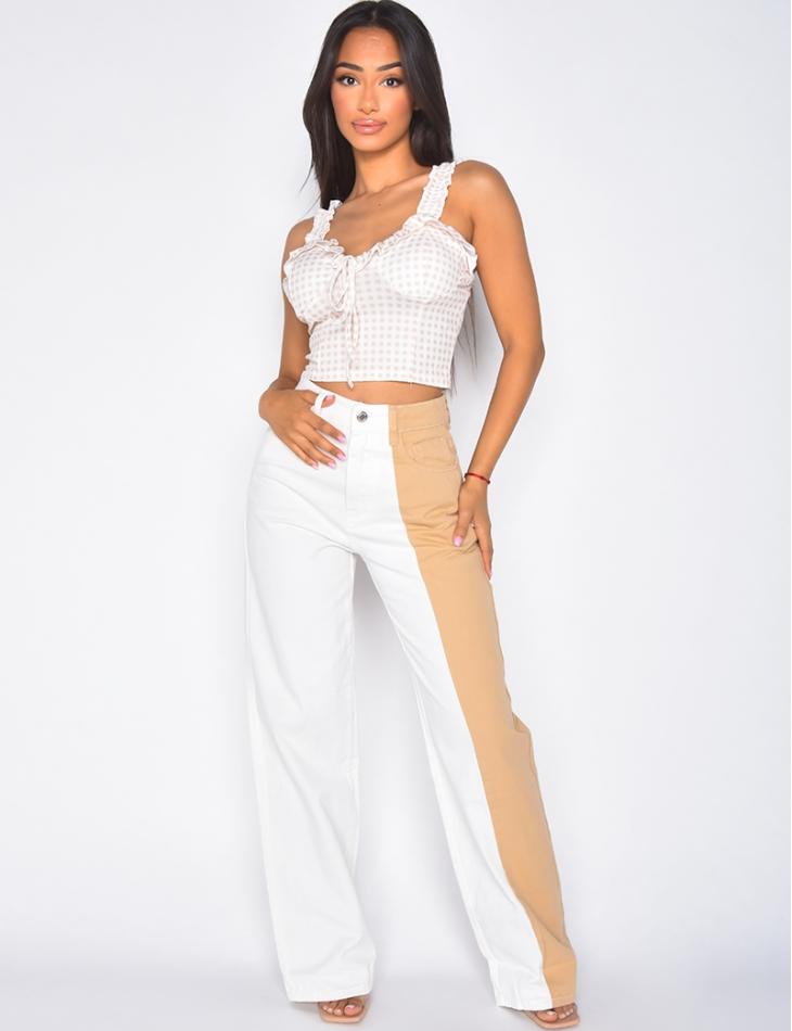 Jeans coupe droite taile haute bi-color