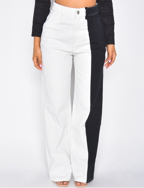Jeans coupe droite taille haute bi-color