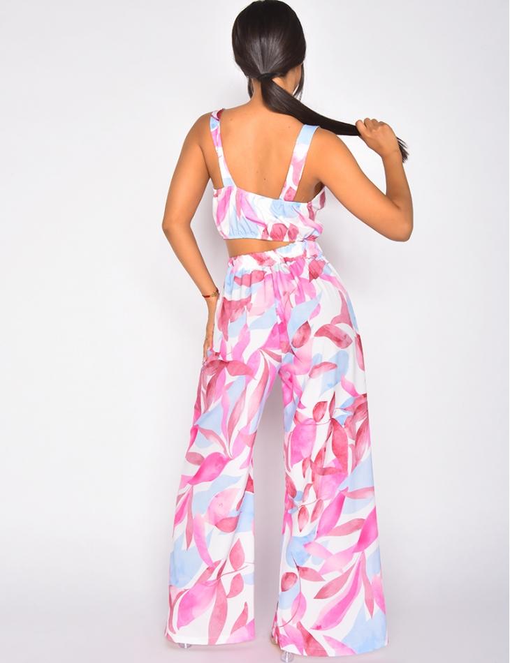 Ensemble pantalon fluide large à fente et crop-top à motif