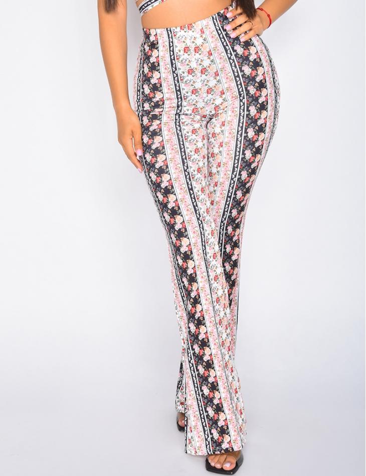 Ensemble pantalon fluide et crop-top à nouer motif fleur