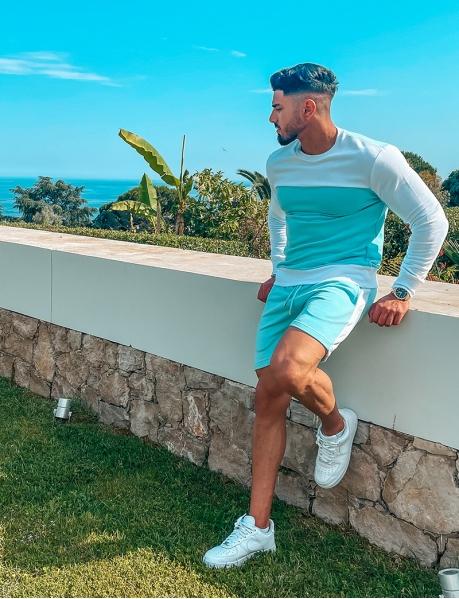 Bi-colour sweatshirt and shorts set