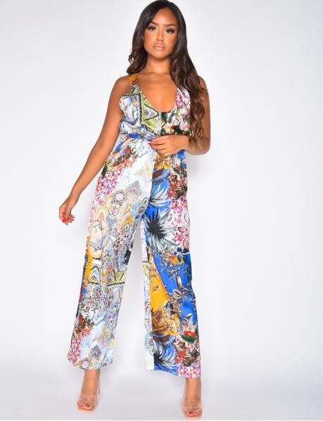 Combinaison pantalon à motif fleuri