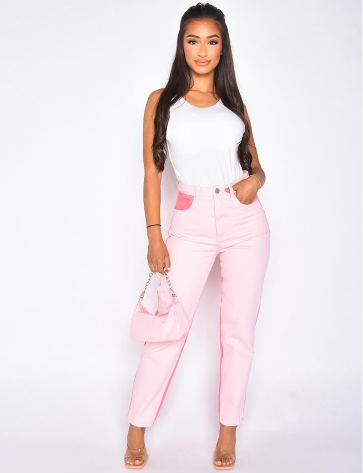 Jeans mom colorblock rose fuschia et rose tendre