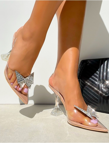 Sandales à talon papillon en strass et lanière transparente