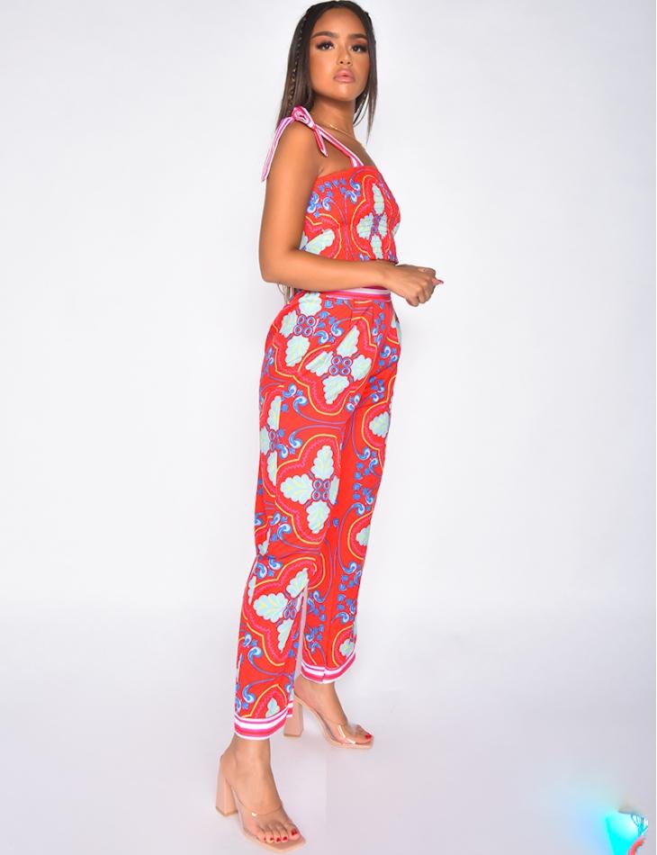 Ensemble pantalon large et crop-top a bretelle