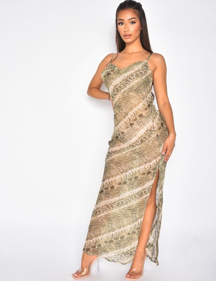 Robe longue fluide avec fente transparente à motif serpent