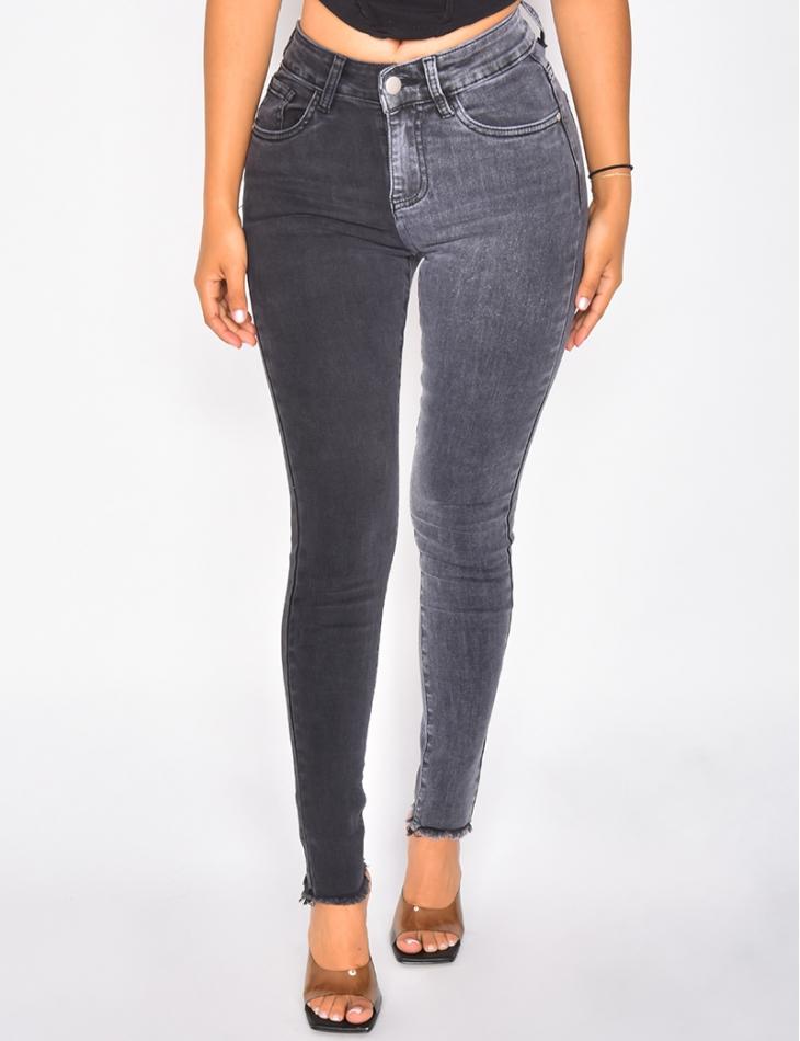 Jeans skinny taille haute bi-color