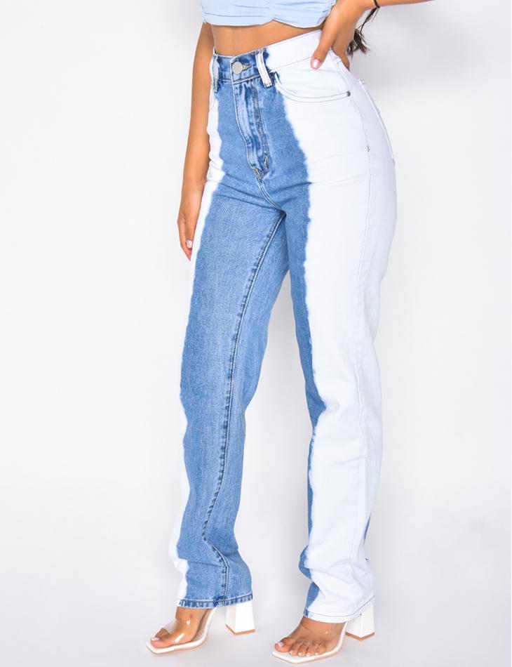 Jeans taille haute coupe droite bi-color