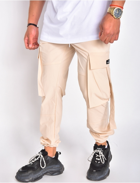 Pantalon cargo fin à poches