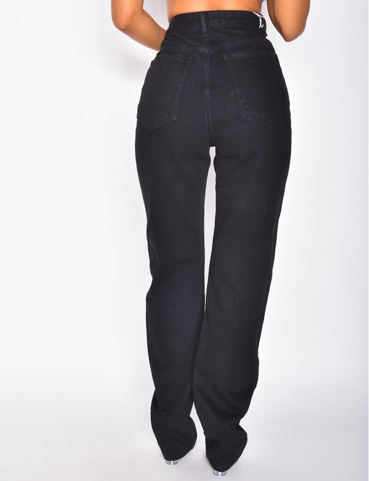 Jeans coupe large taille haute