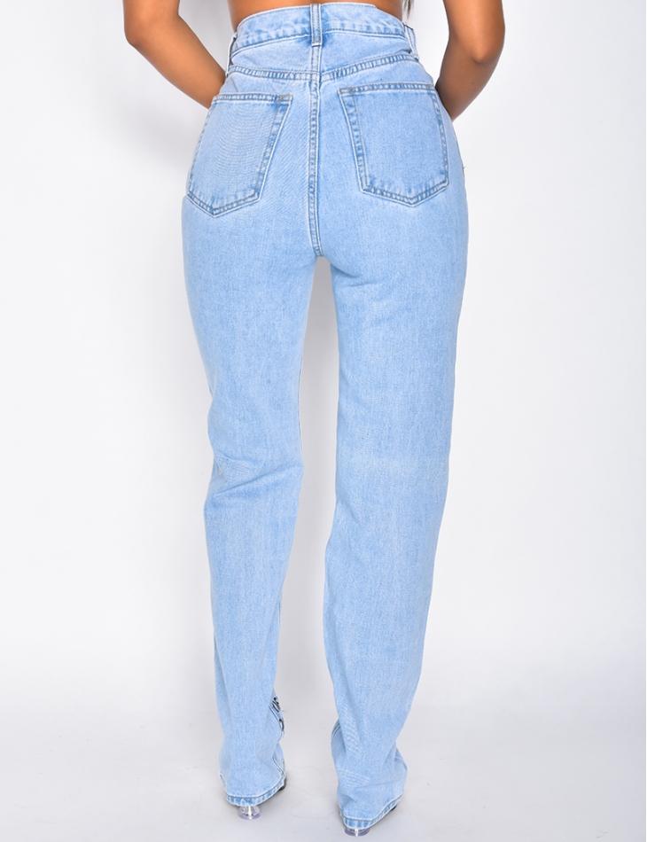 Jeans taille haute à inscription