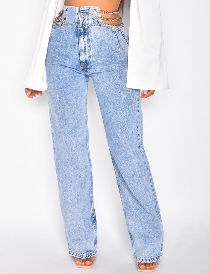 Jeans large taille haute à chaine