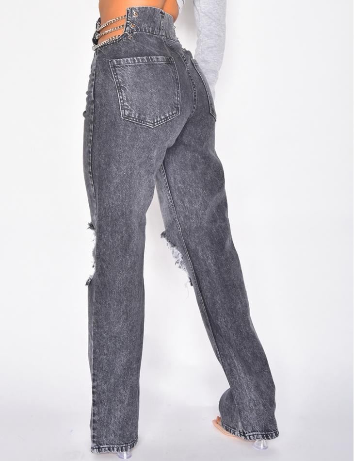 Jeans large destroy taille haute à chaîne
