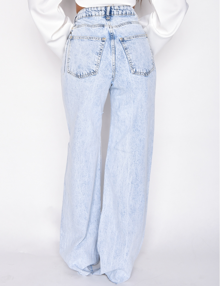 Jeans large taille haute