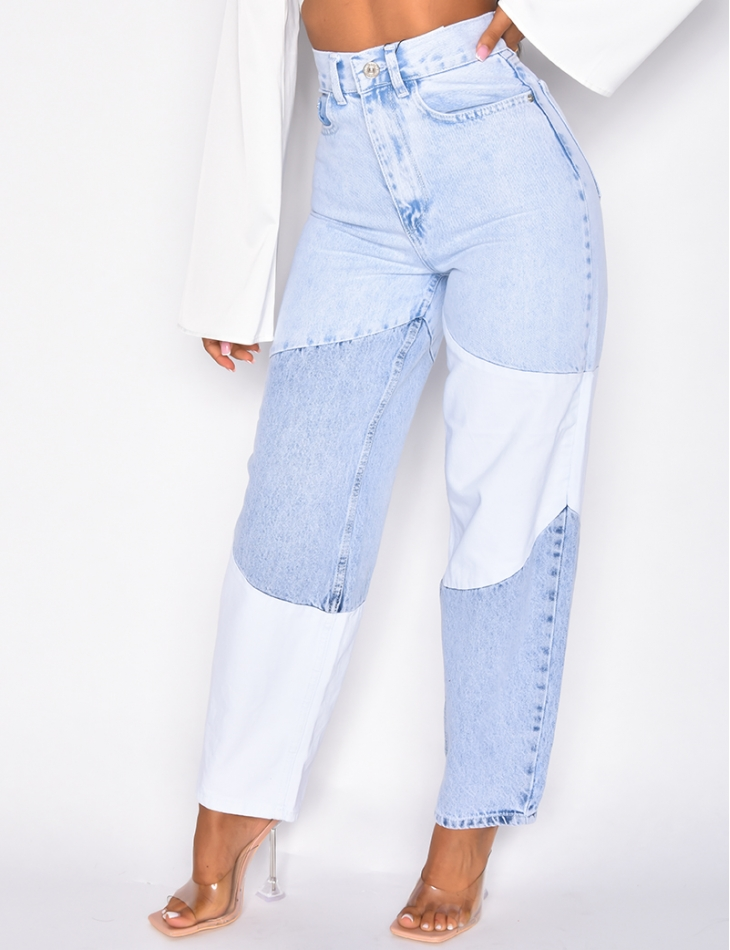Jeans large taille haute à empiècement