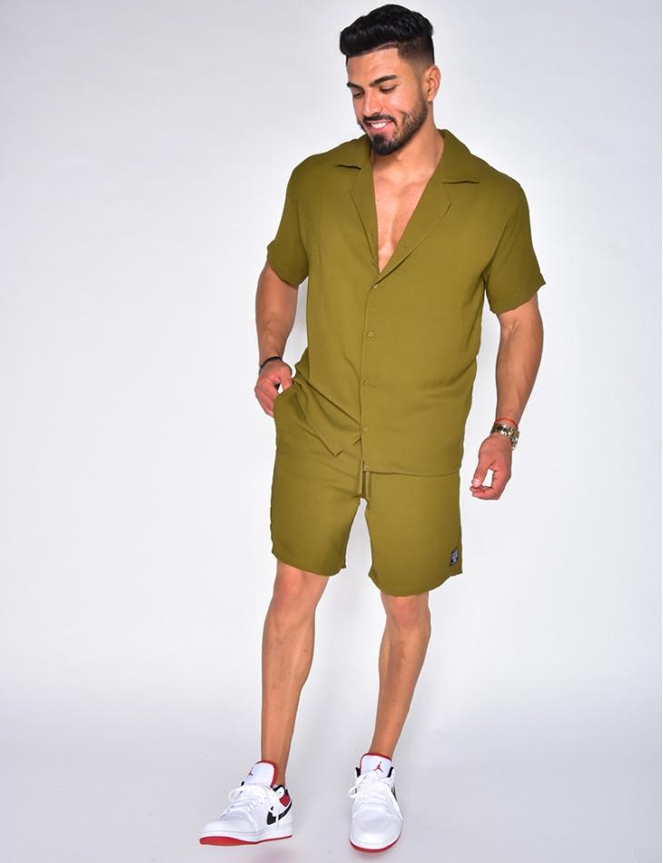 Ensemble short et chemise très fin