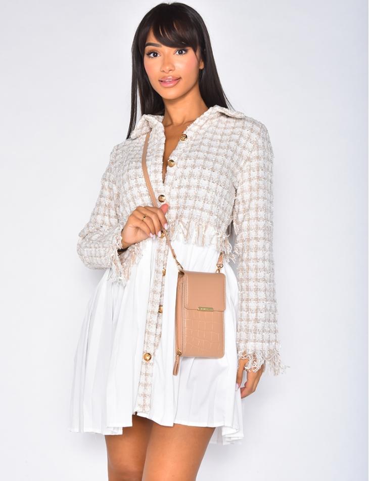 Robe chemise à empiècements en tweed
