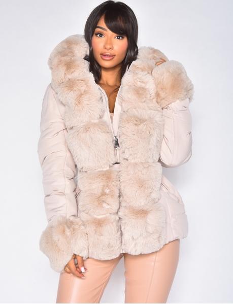 Veste à capuche en fourrure