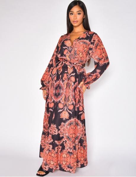 Robe longue fluide à nouer motif baroque
