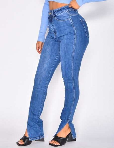 Jeans taille haute à fentes sur le côté