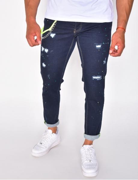Jeans destroy à chaîne et tâches de peinture