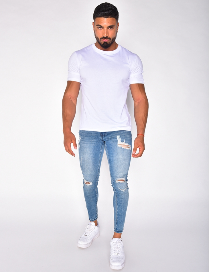 Jeans destroy bleu clair