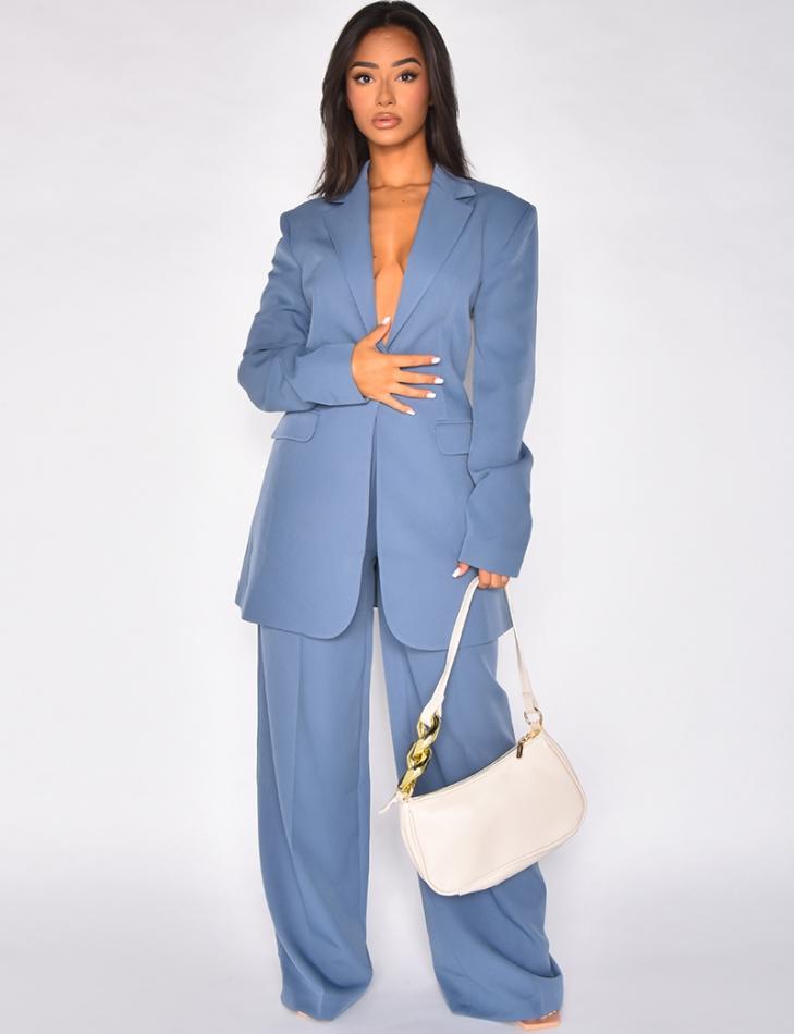 Pantalon de tailleur large bleu vintage