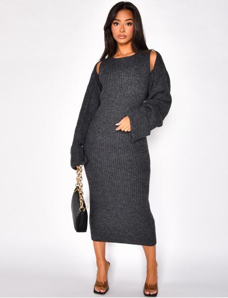 Robe en laine sans manches