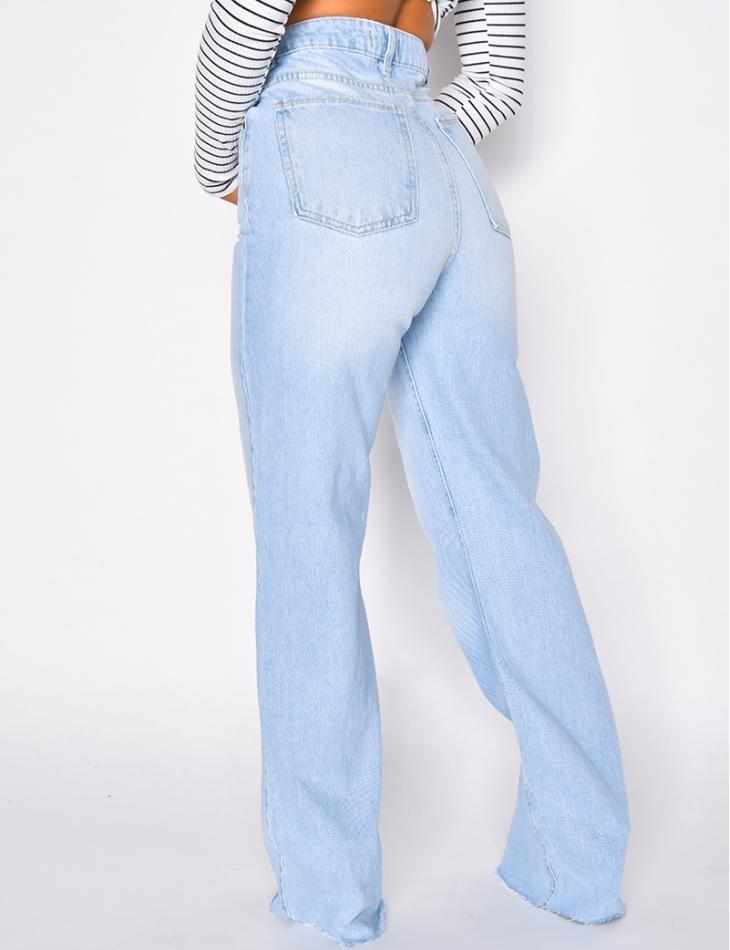 Jeans taille haute coupe droite clair délavé