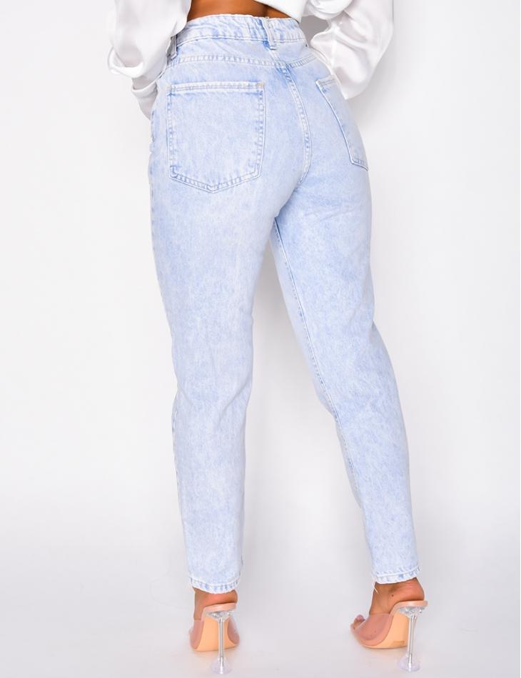 Jeans taille haute coupe droite délavé
