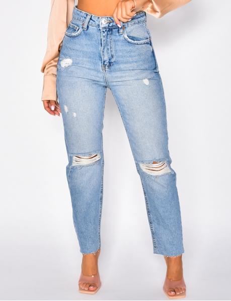 Jeans mom coupe droite destroy