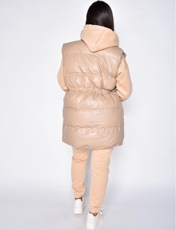 Ensemble pantalon de jogging, sweat à capuche et doudoune sans manche