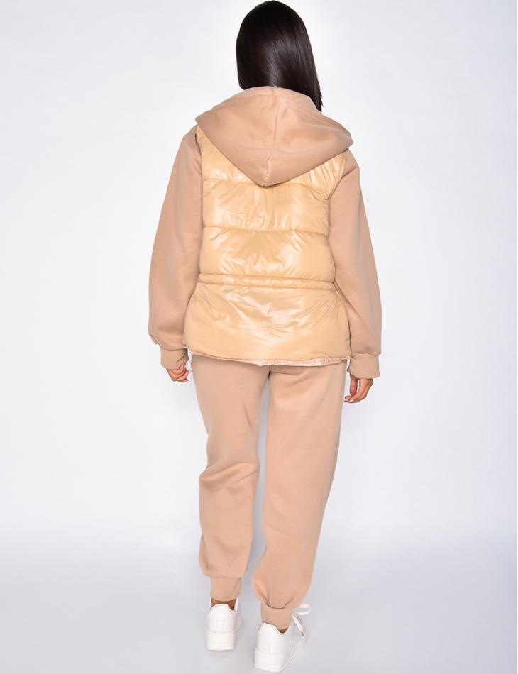 Ensemble pantalon de jogging, veste à capuche et doudoune sans manche