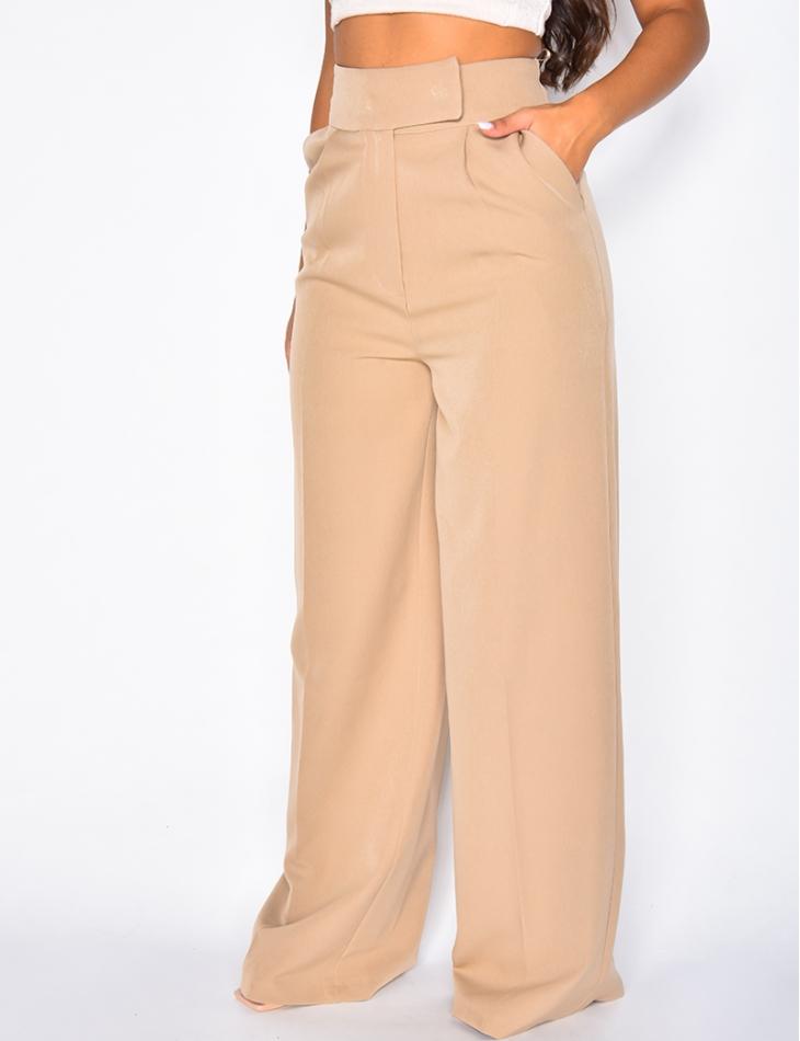 Pantalon à pinces coupe droite taupe